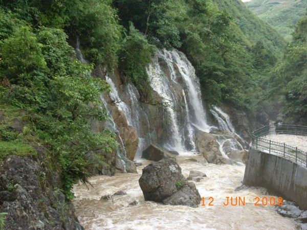 the waterfall...