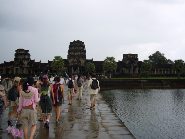 other tourists walking in to Angkor Wat.