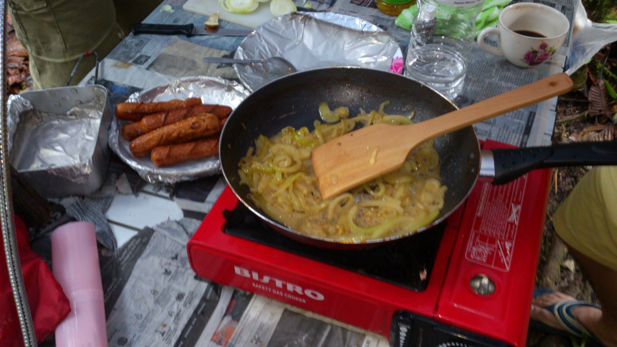 our breakfast sausages & fried onions.